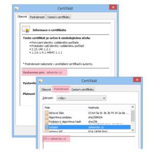 Zobrazení DV SSL/TLS certifikátu