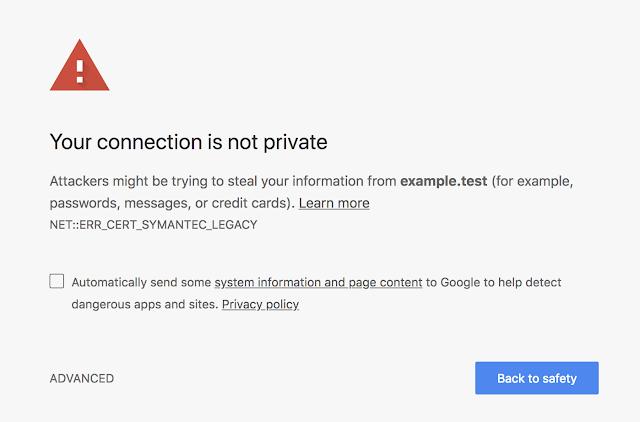 Nefunkční stránky s nedůvěryhodným SSL certifikátem