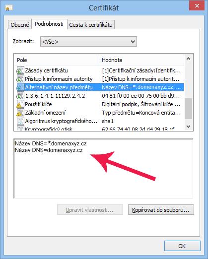 WildCard SSL certifikat - info dialog